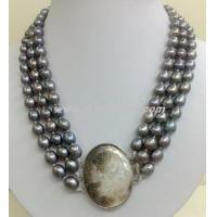 Buy cheap 6-7mm black freshwater pearl necklace with shell pearl clasp from wholesalers