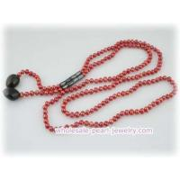 Buy cheap 5-6mm wine red potato pearl Rope necklace with 2 Smokey Quartz from wholesalers