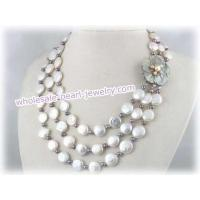 Buy cheap three strands 12mm coin pearl cultured pearl necklace from wholesalers