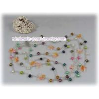 Buy cheap Three strands multi-color side drill pearl necklace with crystal from wholesalers