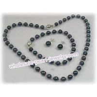 Buy cheap 16 Inch Round 6-6.5mm black Akoya SaltWater Pearl Necklace from wholesalers