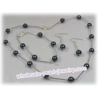 Buy cheap 16 Inch Round 7-7.5mm black Akoya Pearl Necklace bracelet set from wholesalers