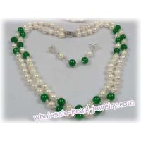 Buy cheap 6.5-7mm baroque Akoya Pearl with jade necklace earrings set from wholesalers