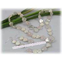 Buy cheap White keshi pearl&rose quartz Y style necklace earrings set from wholesalers
