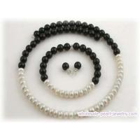 Buy cheap handmade memory wire pearl necklace set with black agate from wholesalers