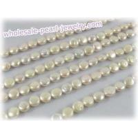Buy cheap 9-10mm white coin freshawater pearl strands for wholesale from wholesalers