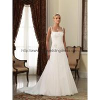 Buy cheap hot wholesale A line straps court train chiffon over satin wedding dress from wholesalers