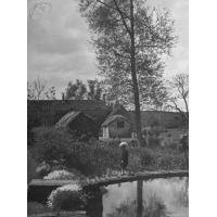 China Little Boy Crossing the Bridge over the Stream at Winson Mill Farm, A War Nursery - Photographic Print on sale