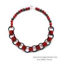 Buy cheap Wholesale Natural Red Coral & Onyx Necklace from wholesalers