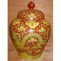 Buy cheap 15 coral red with yellow dragon jar from wholesalers