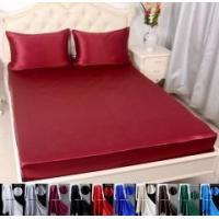 Buy cheap 3pcs 40 Momme 100% Pure Silk Fitted Sheet Pillow Cases Bed Linen Set With Seam from wholesalers