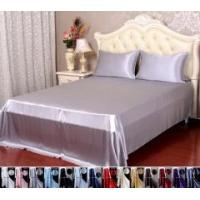 Buy cheap 4pcs 30 Momme 100% Pure Silk Flat Fitted Sheet Pillowcase Bed Linen Set With Seam from wholesalers