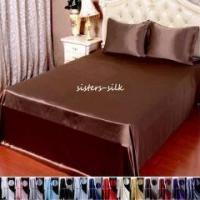 Buy cheap 3pc 30 Momme 100% Pure Silk Top Flat Sheet Pillowcase Bed Linen Set With Seam from wholesalers