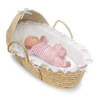 Buy cheap Natural Wicker Moses Baby Basket with Hood and White Bedding from wholesalers