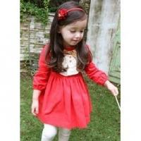2012 Spring Models, Long Sleeved Dress Princess Cute Small Red Dress 2PCS