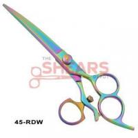 Buy cheap Pet Grooming Scissors Down Curved Rainbow Finish Swivel Thumb Dog Grooming Shear 45-RDW-SWVL from wholesalers