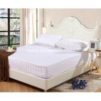 Buy cheap Hotel Bed Linen Sateen Stripe White Color Fitted Sheet from wholesalers