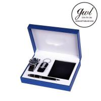 Buy cheap Best Sale Genuine Leather Mens Wallet with Watch Metal Fountain Pen for Gift Set from wholesalers