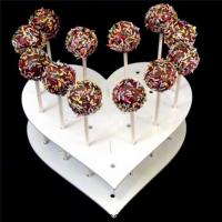 Buy cheap Custom Heart Shape Acrylic Cake Pop Clear Lollipop Display Stand from wholesalers