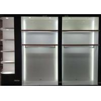 Buy cheap Matte White Wooden Retail Clothing Fixtures Apparel Store Shelves With LED Lights product