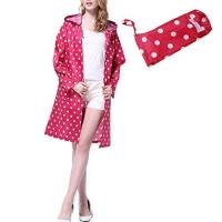 Buy cheap Old Tjikko Women Waterproof Hooded Rain Coats Jacket Polka Dot Rain Coats With Pockets HOT PINK from wholesalers