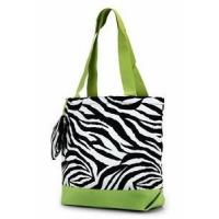 Buy cheap Zebra Print Monogrammed Tote Bag - Lime Green Trim from wholesalers