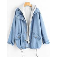 Buy cheap Women Button Up Denim Jacket And Hooded Vest - Light Blue L from wholesalers