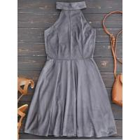 Buy cheap Women Faux Suede Lace Up Choker Skater Dress - Gray M from wholesalers