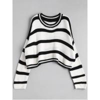 Buy cheap Women Crew Neck Stripe Cropped Sweater - Off-white from wholesalers