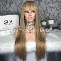 Buy cheap Tyra Bank Style Long Honey Blonde Human Hair Full Lace Wigs With Bangs from wholesalers