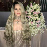 Buy cheap Ombre Colored Long Honey Blonde Wavy Front Lace Hair Wigs with Black Roots from wholesalers