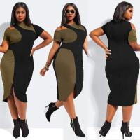 Buy cheap Green Black Patchwork Midi Dress Casual Plus Size Dress from wholesalers