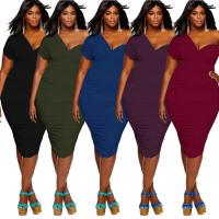 Buy cheap off shoulder Plus size club dress Slim fold deep v neck Sexy dresses from wholesalers