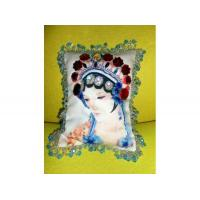Buy cheap Fiber Art & Weaving Beaded Portrait Pillow of Woman from Chinese Opera by Jayne Somogy from wholesalers