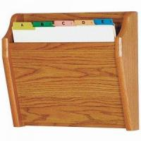 Buy cheap Chart and File Holder, Tapered Bottom Wall Mounted, 1 Pocket, Letter Size, Oak Wood Finish from wholesalers