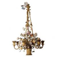 Buy cheap French Basket Form Bronze and Porcelain 6-Light Chandelier Stock Number: L191 from wholesalers