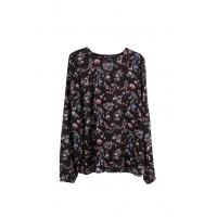 Buy cheap Flower-Print Long-Sleeve Old Fashion Polyeater Blouse With Keyhole Detail Factory from wholesalers
