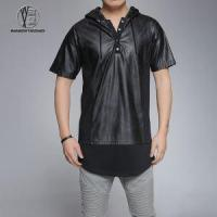 Buy cheap Black 1/4 Zip Short Sleeve PU Leather Hoodies with Scoop hem for Men from wholesalers