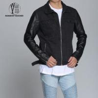 Buy cheap Customized Mens Black Polo Jeans Jacket with Zipper from wholesalers