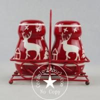 Buy cheap Christmas Ceramic Christmas Reindeer Ceramic Slat N Pepper With Metal Stand Wholesale product