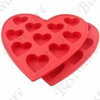Buy cheap silicone pink ice cube tray with heart design from wholesalers