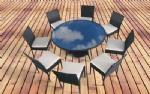 Buy cheap Cast Aluminum Furniture glass top dining table Product No.:HT1308-1 from wholesalers
