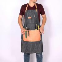 Buy cheap Fashionable Mens Denim Apron for Work with Big Leather Pockets from wholesalers