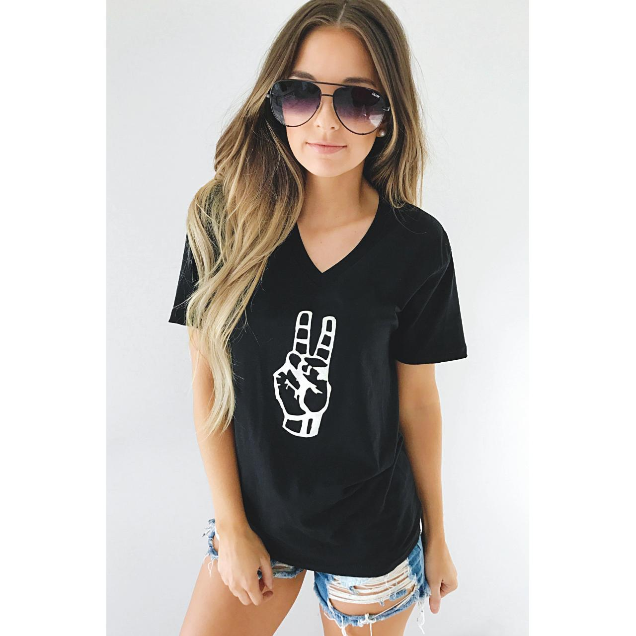 Buy cheap Peace Out Tee: Black/White from wholesalers