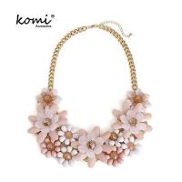 Buy cheap Pink Flower Necklace Crystal Beads Gold Color Chain Mutli Flowers Women Statement Necklaces Pendants from wholesalers