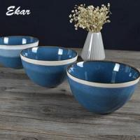 Buy cheap Blue reactive glaze ceramic bowl with brown rim product