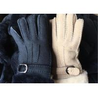 Buy cheap Black Thick Fur Warmest Sheepskin Gloves With Lambswool LiningWaterproof from wholesalers