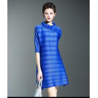 Buy cheap Pleat Plus Size High Collar Summer Loose Dress For Woman from wholesalers