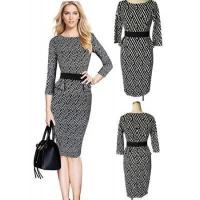 Buy cheap Black and White Long Sleeve Bodycon Skirt Dress for Ladies from wholesalers
