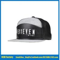 Buy cheap Custom PU leather and jersey fabric 6 panel snapback cap from wholesalers
